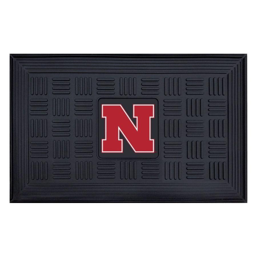 FANMATS Black with Official Team Logos and Colors University Of Nebraska Rectangular Door Mat (Common: 19-in x 30-in; Actual: 19-in x 30-in)