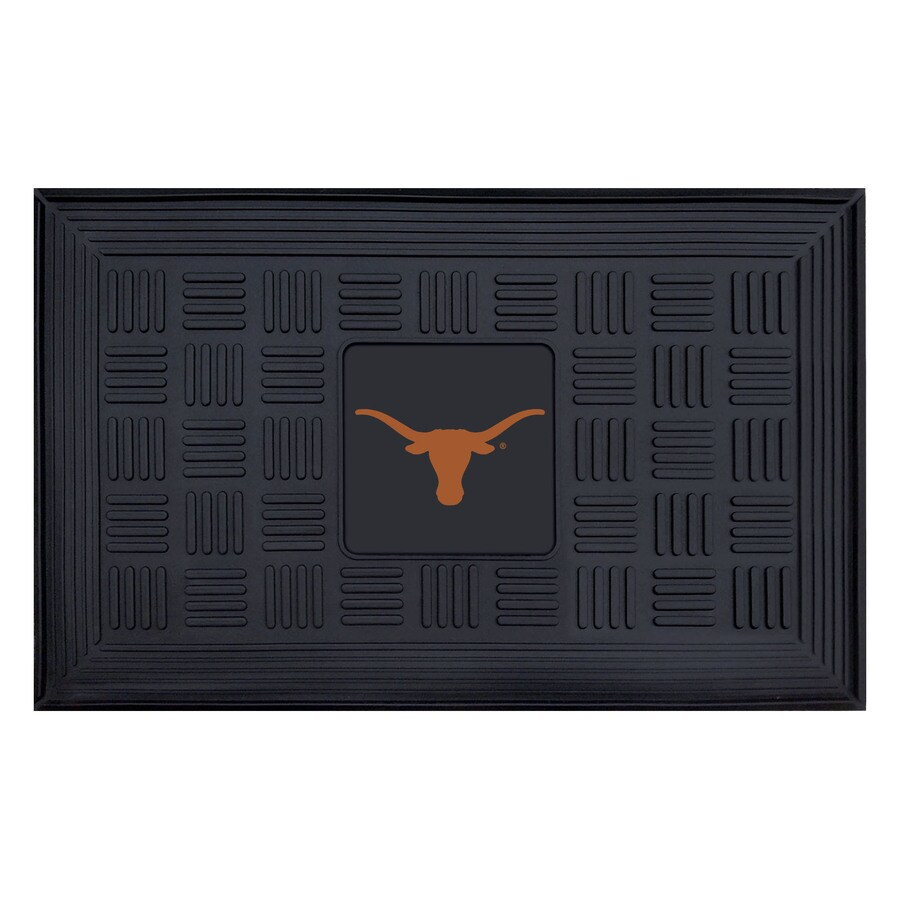 FANMATS Black University Of Texas Rectangular Door Mat (Common: 19-in x 30-in; Actual: 19-in x 30-in)