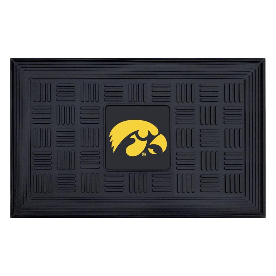 FANMATS Black University Of Iowa Rectangular Door Mat (Common: 19-in x 30-in; Actual: 19-in x 30-in)