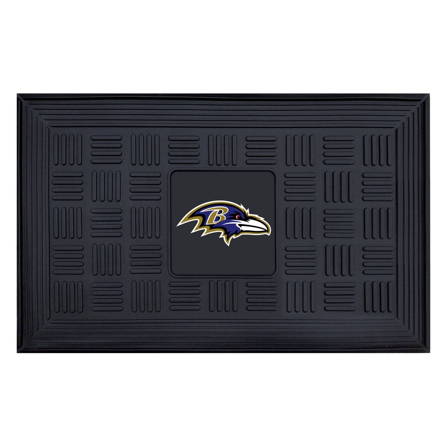 FANMATS Black with Official Team Logos and Colors Baltimore Ravens Rectangular Door Mat (Common: 19-in x 30-in; Actual: 19-in x 30-in)