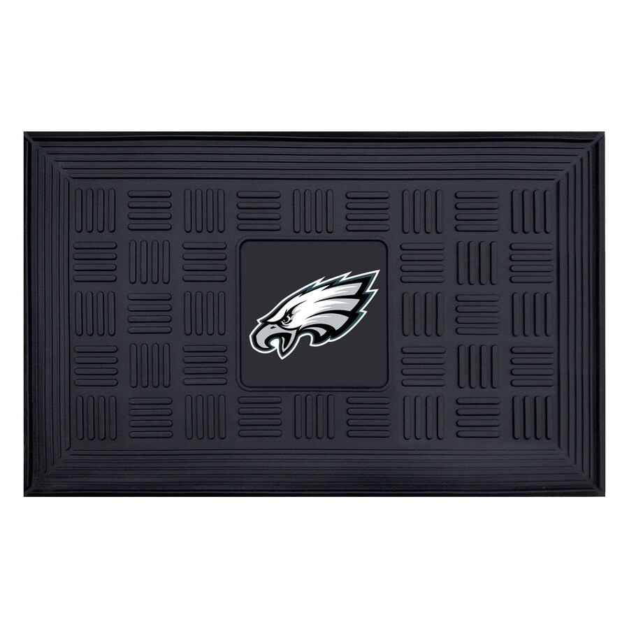 FANMATS Black Philadelphia Eagles Rectangular Door Mat (Common: 19-in x 30-in; Actual: 19-in x 30-in)