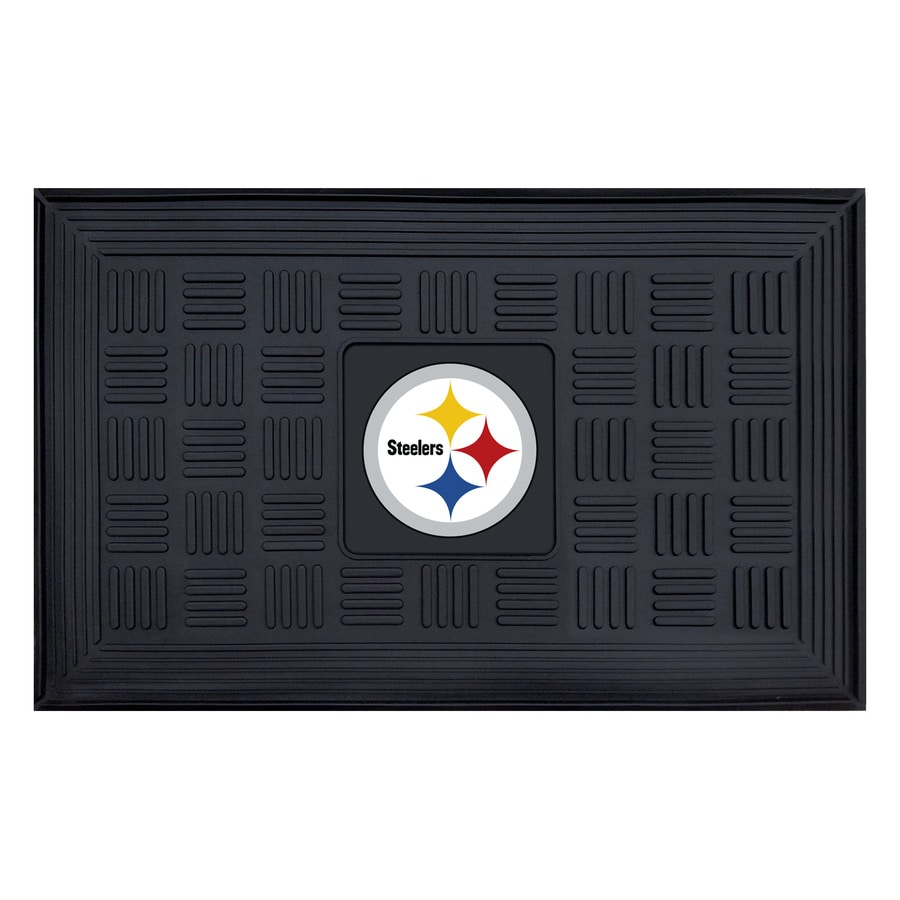 FANMATS Black Pittsburgh Steelers Rectangular Door Mat (Common: 19-in x 30-in; Actual: 19-in x 30-in)