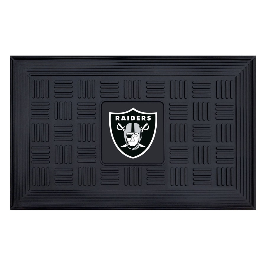 FANMATS Black with Official Team Logos and Colors Oakland Raiders Rectangular Door Mat (Common: 19-in x 30-in; Actual: 19-in x 30-in)