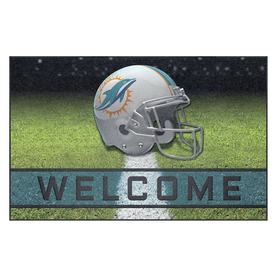 FANMATS Multicolor Miami Dolphins Rectangular Door Mat (Common: 18-in x 30-in; Actual: 18-in x 30-in)
