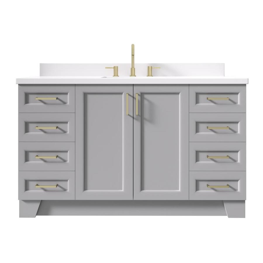 No Mirror ARIEL 61 Inch Midnight Blue Bathroom Vanity with 1.5 Inch Thick Edge White Quartz Countertop 2 Soft Closing Doors /& 9 Full Extension Dovetail Drawers Satin Nickel Hardware