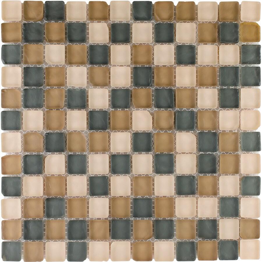 "Elida Ceramica 12"" x 12"" Mosaic Tumbled Natural Glass Wall Tile"