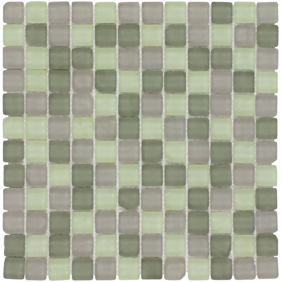 Elida Ceramica Tumbled Mint Uniform Squares Mosaic Glass Wall Tile (Common: 12-in x 12-in; Actual: 11.75-in x 11.75-in)