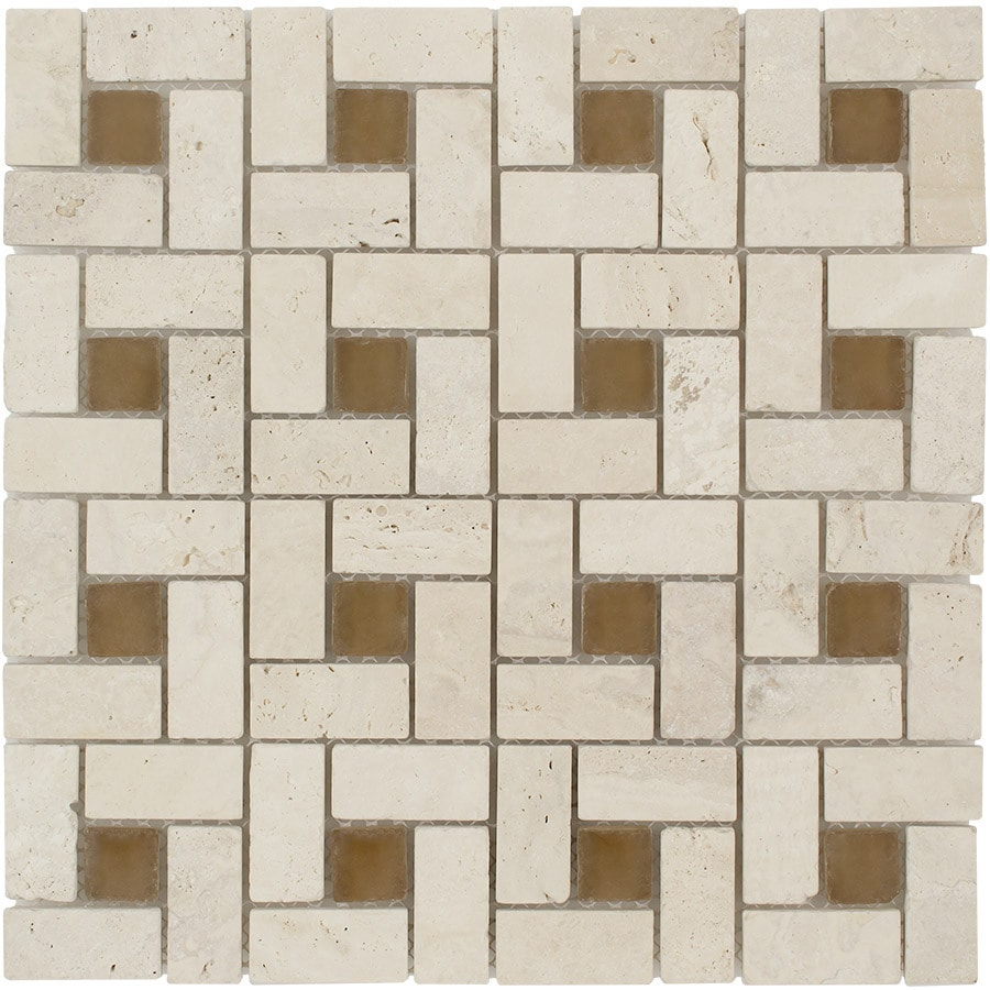 Elida Ceramica Tumbled Eye Pinwheel Mosaic Stone and Glass Travertine Wall Tile (Common: 12-in x 12-in; Actual: 11.75-in x 11.75-in)