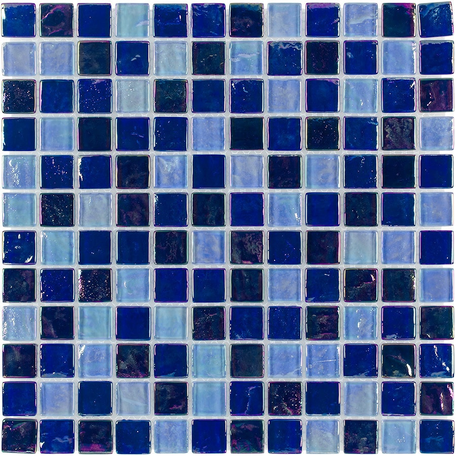 Elida Ceramica Sea Oil Uniform Squares Mosaic Glass Wall Tile (Common: 12-in x 12-in; Actual: 11.75-in x 11.75-in)