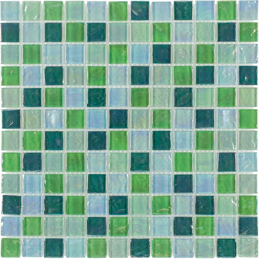 Iridescent glass mosaic tile backsplash