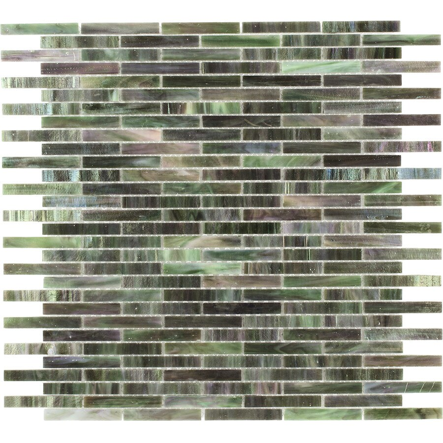 Elida Ceramica Jade Brick Mosaic Glass Wall Tile (Common: 13-in x 14-in; Actual: 11.75-in x 12.75-in)