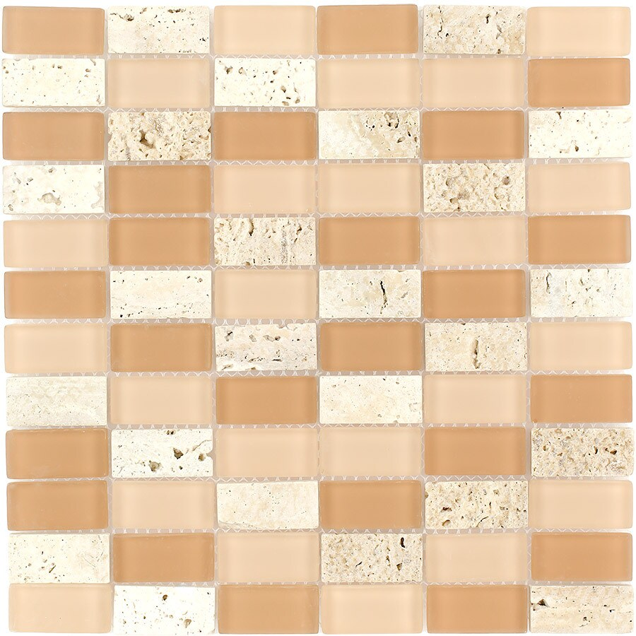 Elida Ceramica Natura Brick Straight Stack Mosaic Stone and Glass Travertine Wall Tile (Common: 12-in x 12-in; Actual: 11.75-in x 11.75-in)