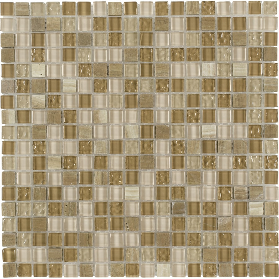 Elida Ceramica Sand Uniform Squares Mosaic Stone and Glass Marble Wall Tile (Common: 12-in x 12-in; Actual: 11.75-in x 11.75-in)