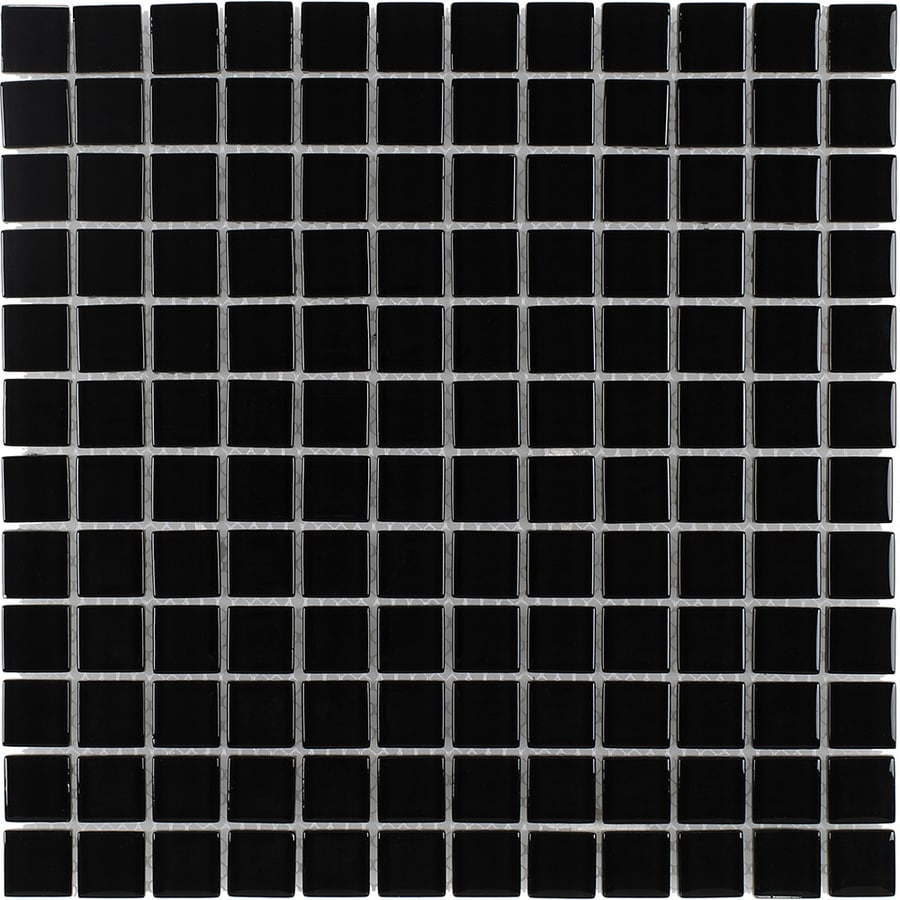 Elida Ceramica Nero Uniform Squares Mosaic Glass Wall Tile (Common: 12-in x 12-in; Actual: 11.75-in x 11.75-in)