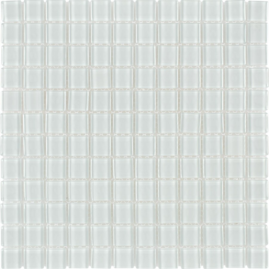 Elida Ceramica Bianco Uniform Squares Mosaic Glass Wall Tile (Common: 12-in x 12-in; Actual: 11.75-in x 11.75-in)