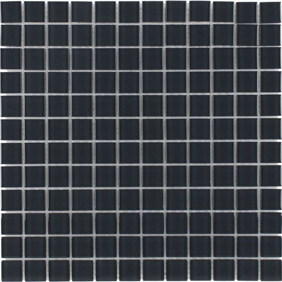 Elida Ceramica Dark Grey Uniform Squares Mosaic Glass Wall Tile (Common: 12-in x 12-in; Actual: 11.75-in x 11.75-in)