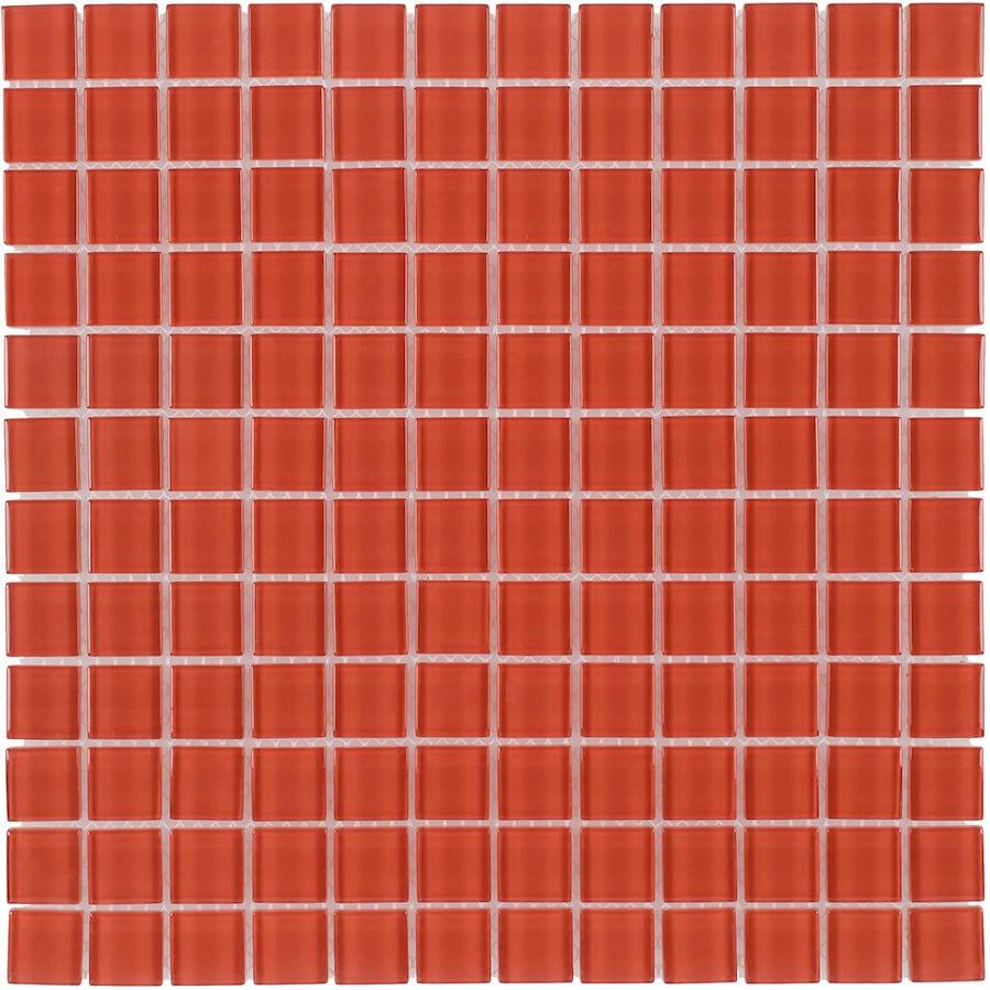 Elida Ceramica Orange Uniform Squares Mosaic Glass Wall Tile (Common: 12-in x 12-in; Actual: 11.75-in x 11.75-in)