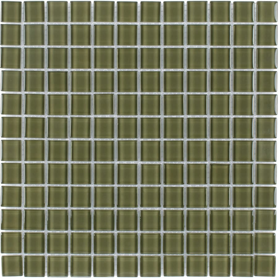 Elida Ceramica Forest Uniform Squares Mosaic Glass Wall Tile (Common: 12-in x 12-in; Actual: 11.75-in x 11.75-in)