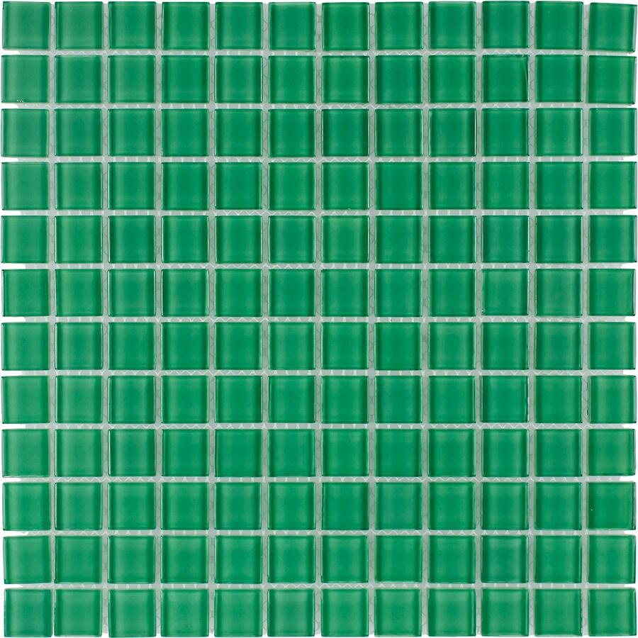 Elida Ceramica Verdi Uniform Squares Mosaic Glass Wall Tile (Common: 12-in x 12-in; Actual: 11.75-in x 11.75-in)