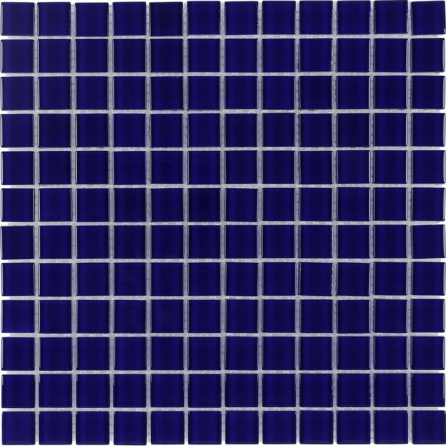 Elida Ceramica Cobalt Uniform Squares Mosaic Glass Wall Tile (Common: 12-in x 12-in; Actual: 11.75-in x 11.75-in)