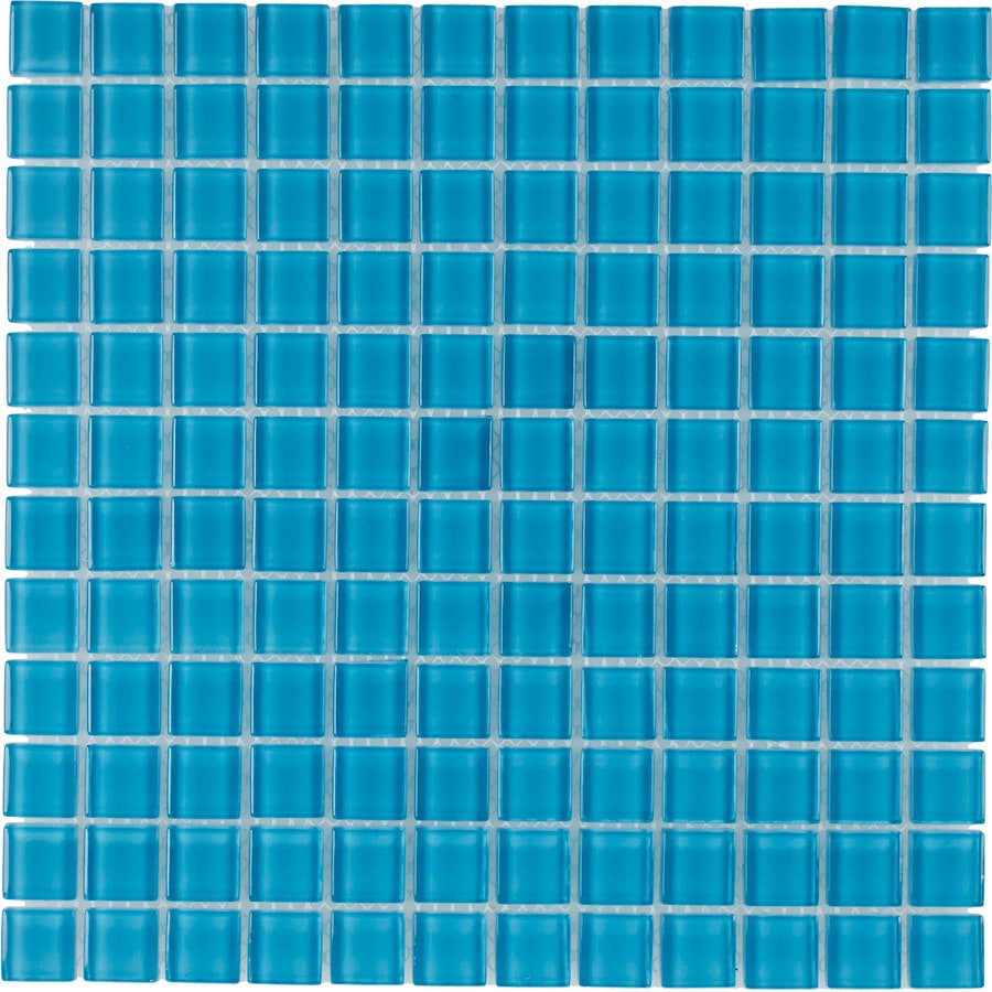 Elida Ceramica Powder Blue Uniform Squares Mosaic Glass Wall Tile (Common: 12-in x 12-in; Actual: 11.75-in x 11.75-in)