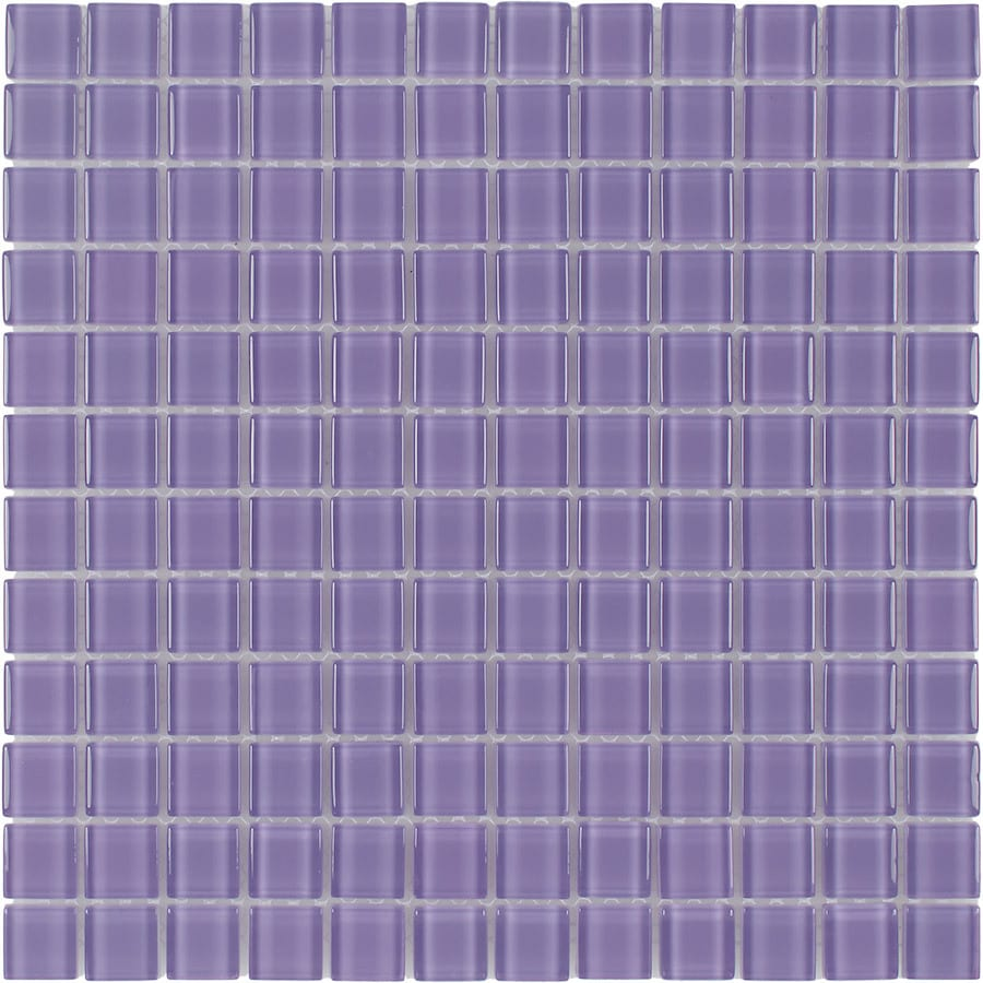 Elida Ceramica Violet Uniform Squares Mosaic Glass Wall Tile (Common: 12-in x 12-in; Actual: 11.75-in x 11.75-in)