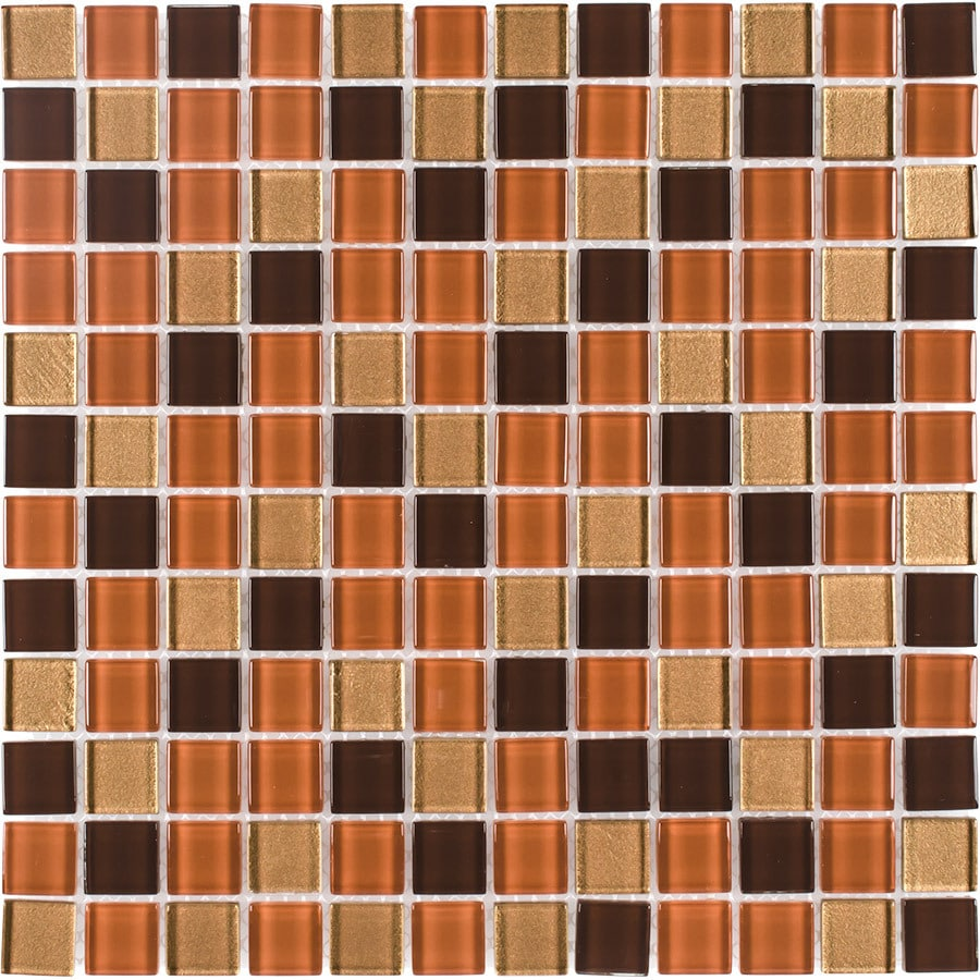 Elida Ceramica Wood Uniform Squares Mosaic Glass Wall Tile (Common: 12-in x 12-in; Actual: 11.75-in x 11.75-in)
