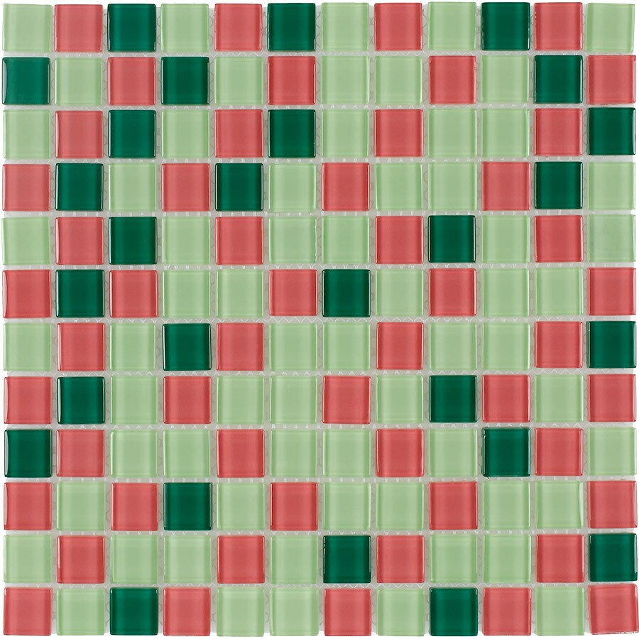 Elida Ceramica Spring Uniform Squares Mosaic Glass Wall Tile (Common: 12-in x 12-in; Actual: 11.75-in x 11.75-in)