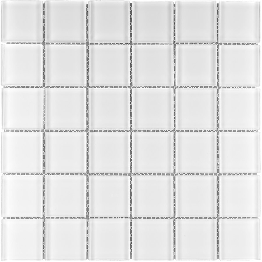 Elida Ceramica White Cubes Clear Uniform Squares Mosaic Glass Wall Tile (Common: 12-in x 12-in; Actual: 11.75-in x 11.75-in)
