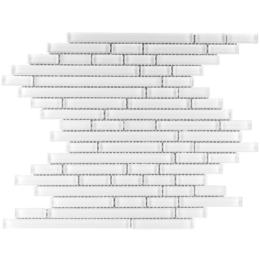 Elida Ceramica White Flow Blend Linear Mosaic Glass Wall Tile (Common: 12-in x 13-in; Actual: 11.75-in x 12-in)