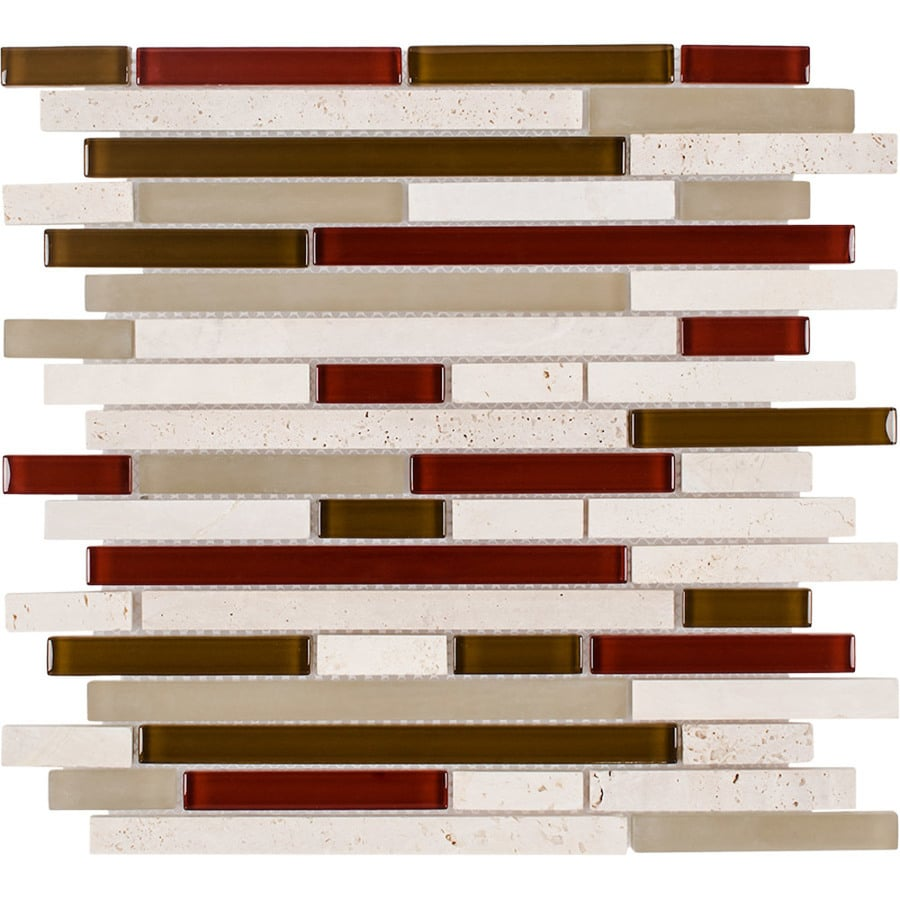Elida Ceramica Orchid Brick Linear Mosaic Stone and Glass Travertine Wall Tile (Common: 12-in x 13-in; Actual: 12-in x 12-in)