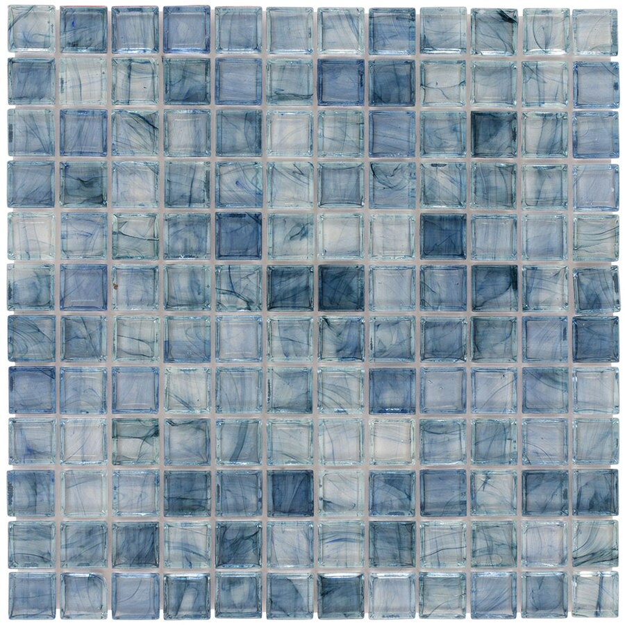 elida ceramica angelica blue uniform squares mosaic glass wall tile
