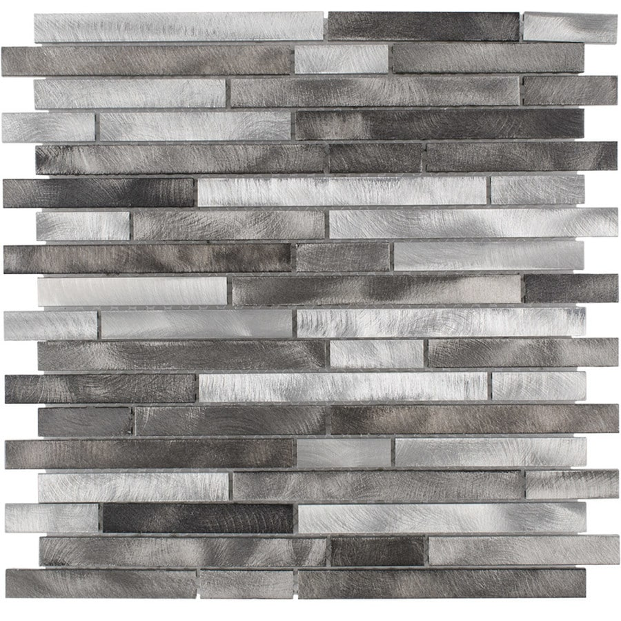 Elida Ceramica Silver Mix Linear Mosaic Metal Wall Tile (Common: 12-in x 13-in; Actual: 11.75-in x 12-in)