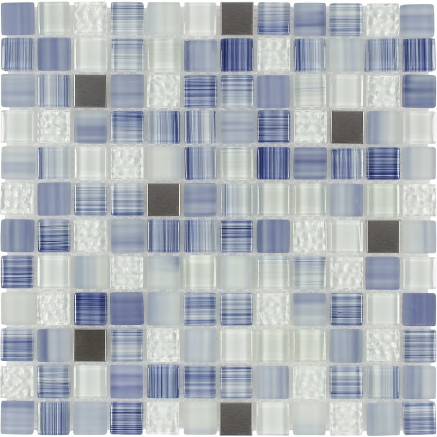 Elida Ceramica Infinite Blue Uniform Squares Mosaic Glass and Metal Wall Tile (Common: 12-in x 12-in; Actual: 11.75-in x 11.75-in)