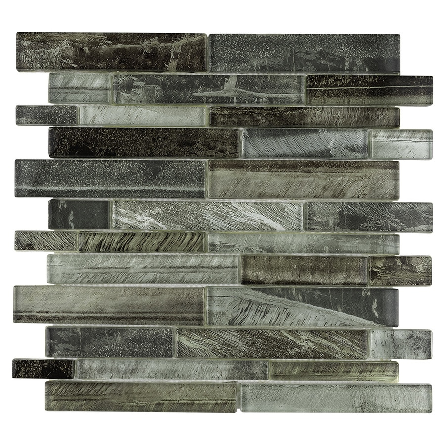 allen + roth Shimmering Lights Linear Mosaic Glass Wall Tile (Common: 12-in x 12-in; Actual: 11.75-in x 11.75-in)
