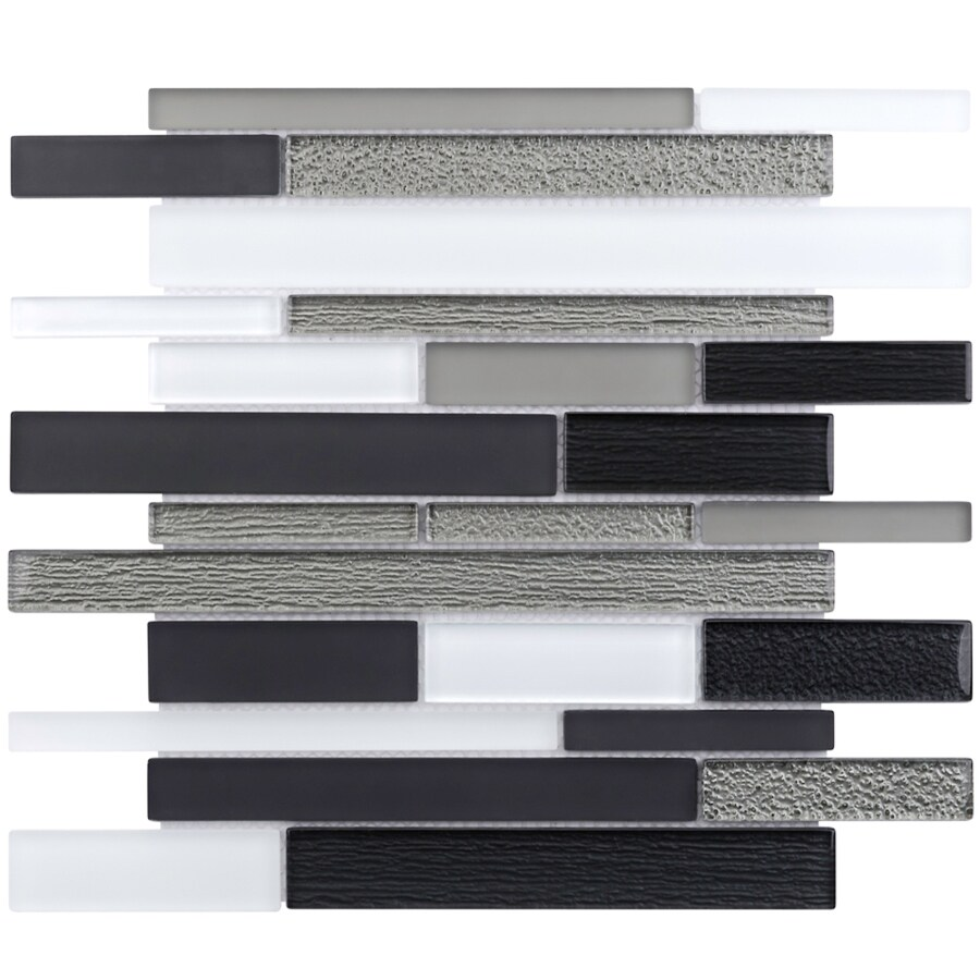 Elida Ceramica Black Diamonds Linear Mosaic Glass Wall Tile (Common: 12-in x 14-in; Actual: 11.75-in x 11.75-in)
