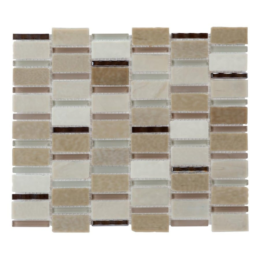 allen + roth Melted Lava Pearl Glass Mosaic Indoor/Outdoor Wall Tile (Common: 11-in x 13-in; Actual: 11-in x 13-in)
