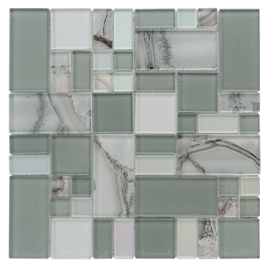 allen + roth Volcanic Laser Cubes Mosaic Glass Wall Tile (Common: 12-in x 12-in; Actual: 11.75-in x 11.75-in)