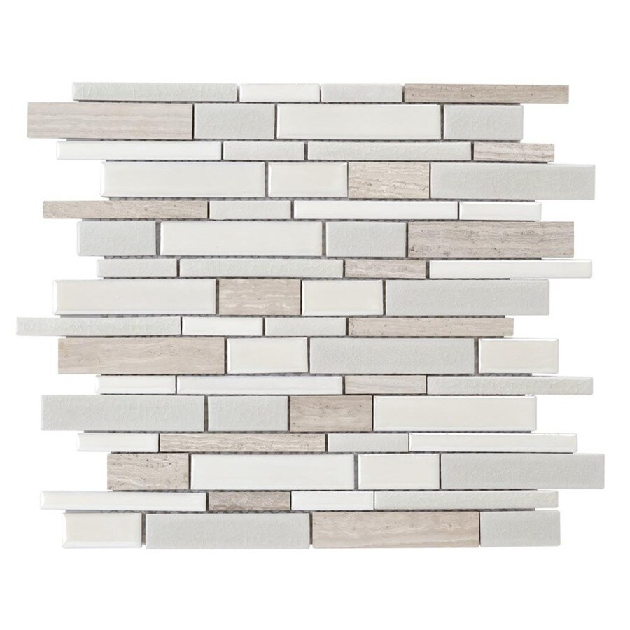 Crackled Linear Silk Linear Mosaic Porcelain Marble Wall Tile (Common: 12-in x 14-in; Actual: 12-in x 12.6-in) Product Photo