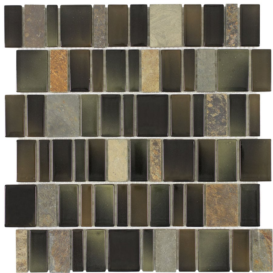 Elida Ceramica Monarch Rain Forest Staggered Mosaic Stone and Glass Marble Wall Tile (Common: 12-in x 12-in; Actual: 11.25-in x 11.75-in)