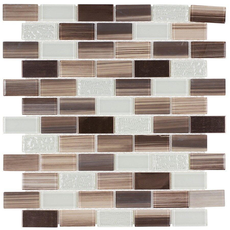 Elida Ceramica Sicily Brick Mosaic Glass and Metal Wall Tile (Common: 12-in x 12-in; Actual: 10.75-in x 11.75-in)