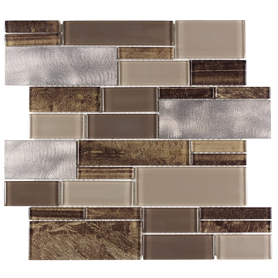 allen + roth Laser Contempo Linear Mosaic Glass and Metal Wall Tile (Common: 12-in x 13-in; Actual: 11.75-in x 11.75-in)