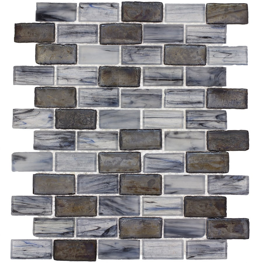 Elida Ceramica Melted Glacier Brick Mosaic Glass Wall Tile (Common: 12-in x 12-in; Actual: 10.75-in x 13-in)