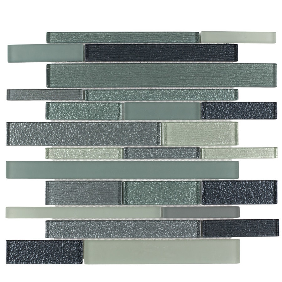Elida Ceramica Caribbean Diamonds Linear Mosaic Glass Wall Tile (Common: 12-in x 14-in; Actual: 11.75-in x 11.75-in)