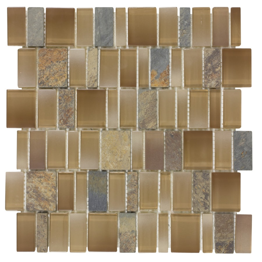 Elida Ceramica Monarch Earth Staggered Mosaic Stone and Glass Slate Wall Tile (Common: 12-in x 12-in; Actual: 11.25-in x 11.75-in)