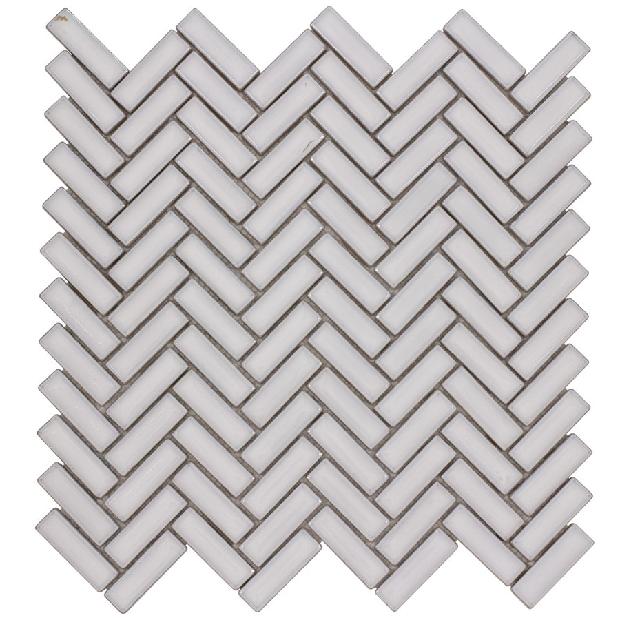 Shop Elida Ceramica Chelsea White Herringbone Mosaic Ceramic Wall Tile Commo