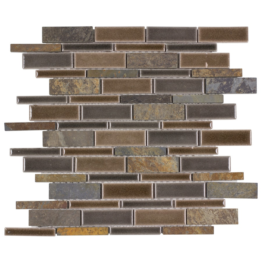 Elida Ceramica Natural Mountain Linear Mosaic Porcelain Wall Tile (Common: 12-in x 14-in; Actual: 11.75-in x 12-in)