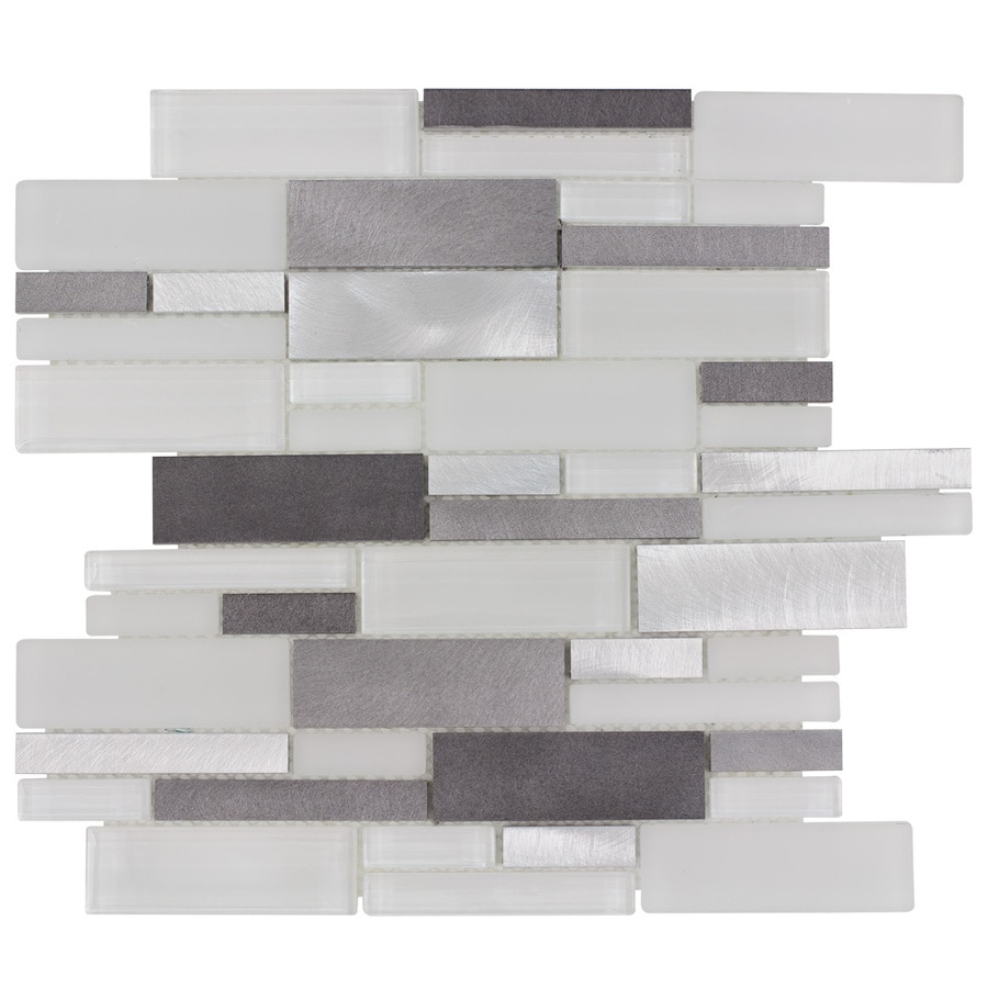 Elida Ceramica Avalanche White Linear Mosaic Glass and Metal Wall Tile (Common: 12-in x 14-in; Actual: 11.75-in x 12-in)