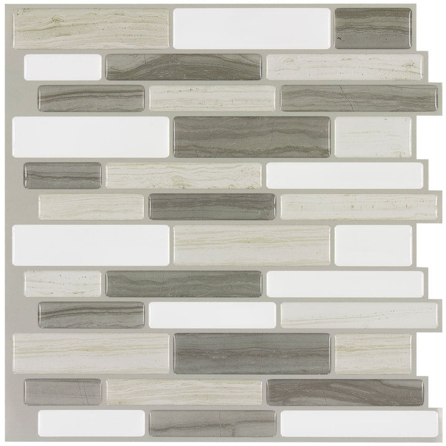Peel&Stick Mosaics Beige Mist Linear Mosaic Composite Wall Tile (Common: 10-in x 10-in; Actual: 9.4-in x 10-in)