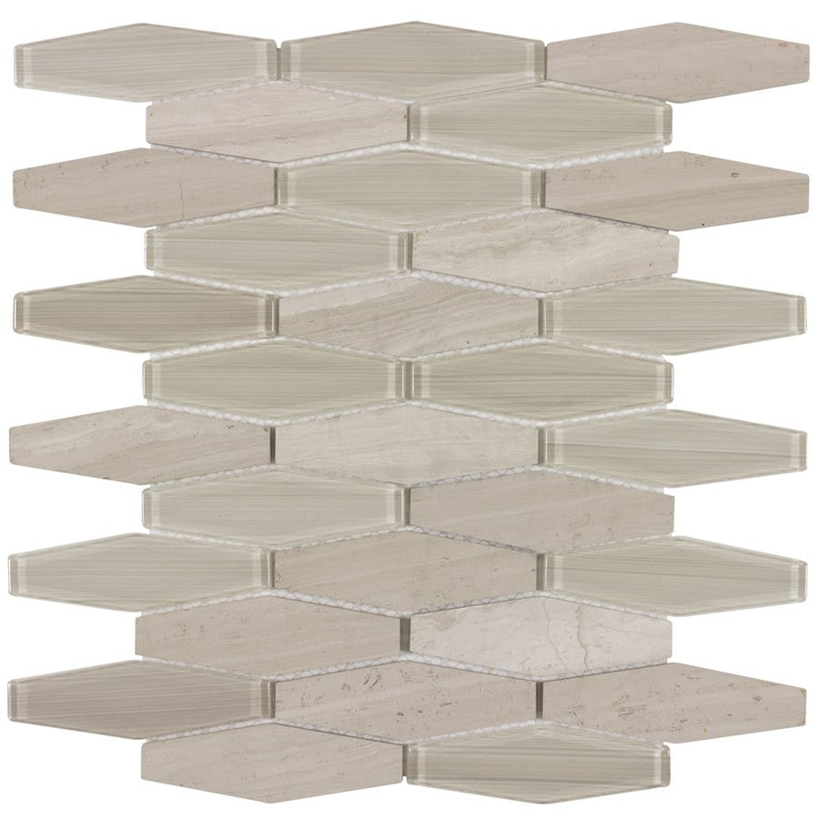 Elida Ceramica Stonegate Long Hex Mosaic Stone and Glass Marble Wall Tile (Common: 12-in x 10-in; Actual: 11.25-in x 9.8-in)